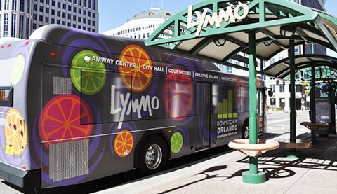 LYMMO Bus at Bus Stop